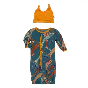 Oasis Koinobori RUFFLE Layette Gown Converter and Double Knot Hat Set