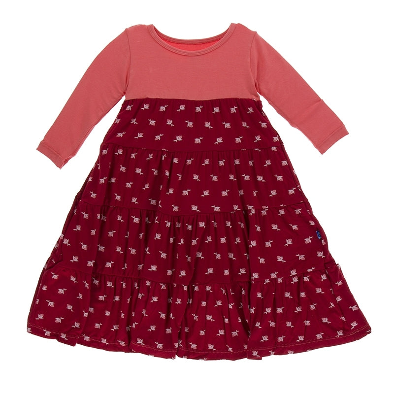 Candy Apple Rose Bud Tiered Dress