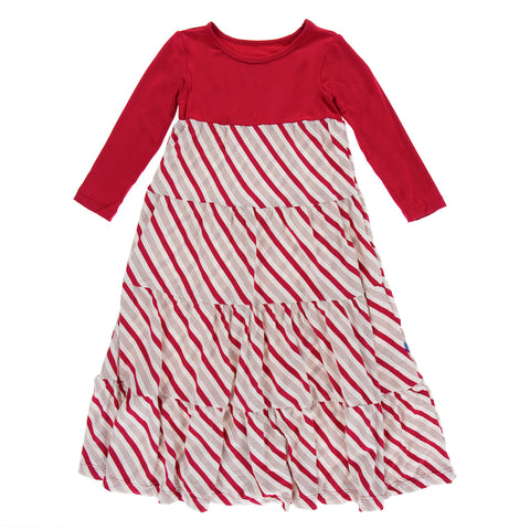 Rose Gold Candy Cane Stripe Long Sleeve Tiered Dress