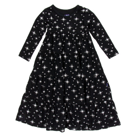 Silver Bright Stars Long Sleeve Tiered Dress