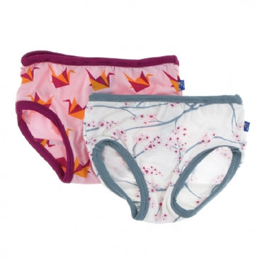Natural Japanese Cherry Tree and Lotus Origami Cranes Girl Underwear Set