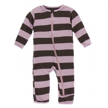 Print Coverall with Zipper  Paleontology Flora Stripe - 4T