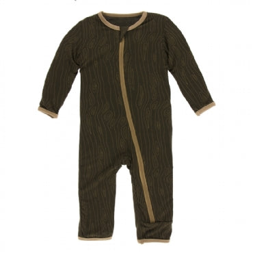 Print Coverall with Zipper  Petrified Wood - 3-6 Months