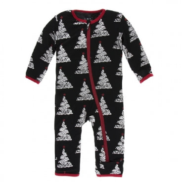 Coverall with Zipper Midnight Foil Tree