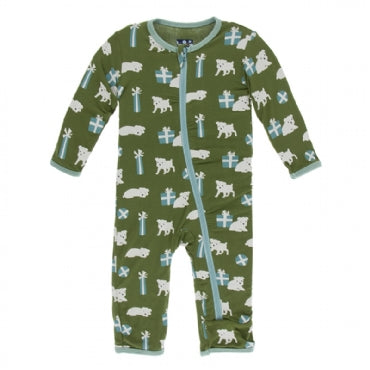 Coverall with Zipper Moss Puppies and Presents