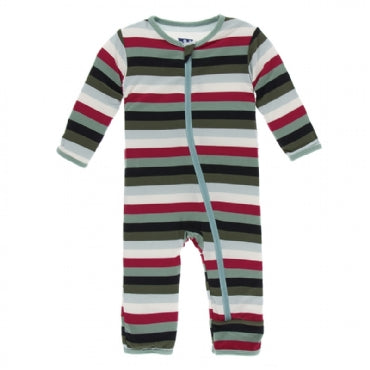 Coverall with Zipper Christmas Multi Stripe