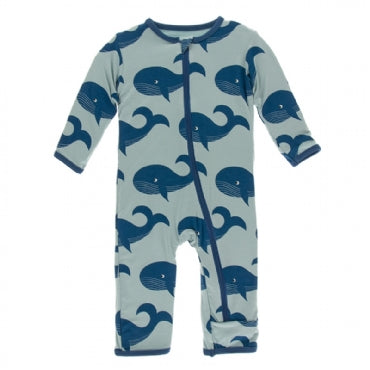 Print Coverall with Zipper Jade Whales