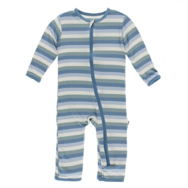 Print Coverall with Zipper Oceanography Stripe