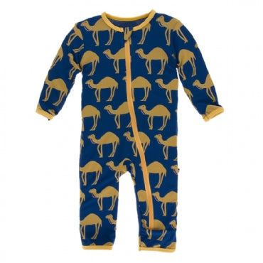 Navy Camel Coverall with Zipper