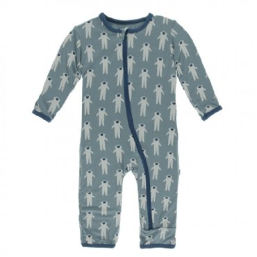Print Coverall with Zipper Dusty Sky Astronaut