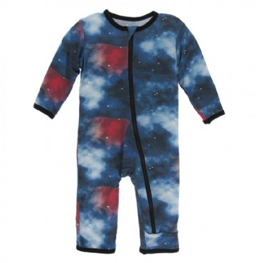 Print Coverall with Zipper Red Ginger Galaxy