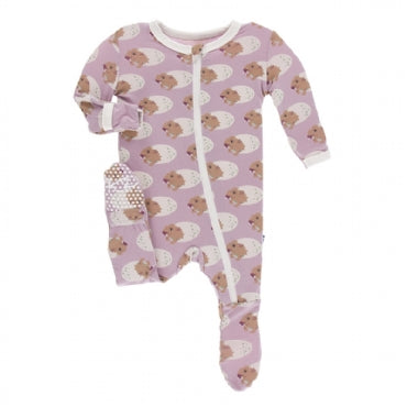 Print Footie with Zipper  Sweet Pea Diictodon - 0-3 Months