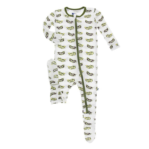 Natural Olive Branch Footie with Zipper