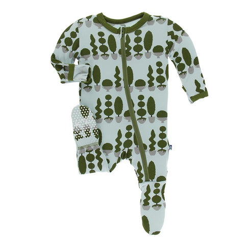 Spring Sky Villa Garden Footie with Zipper