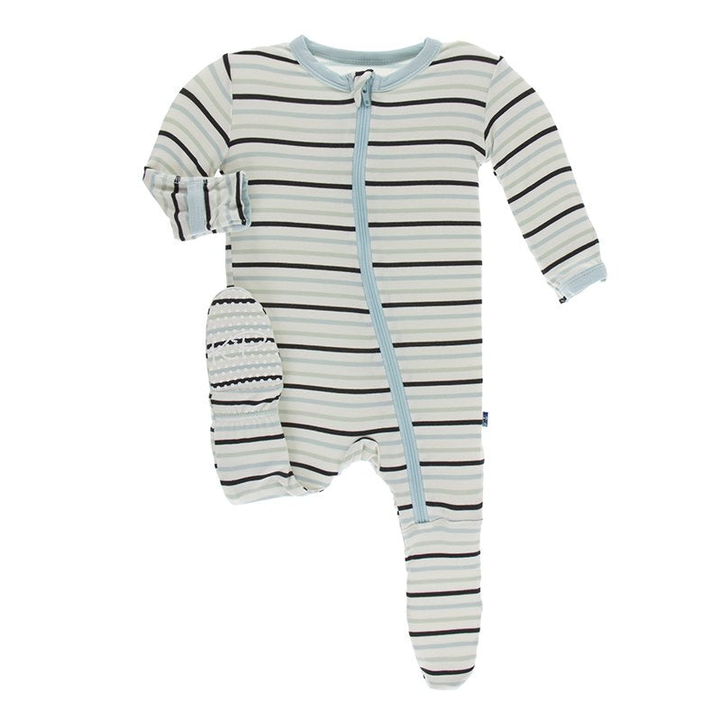 Tuscan Afternoon Stripe Footie with Zipper