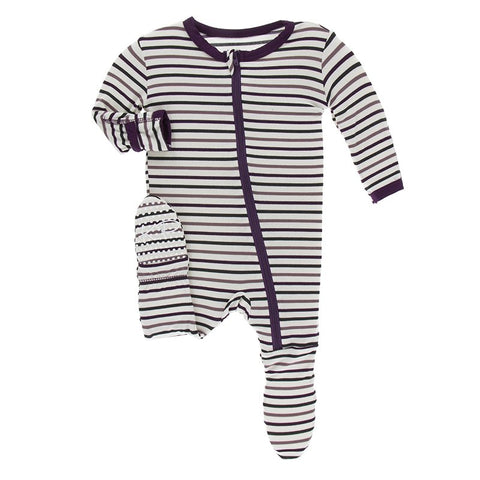 Tuscan Vineyard Stripe Footie with Zipper