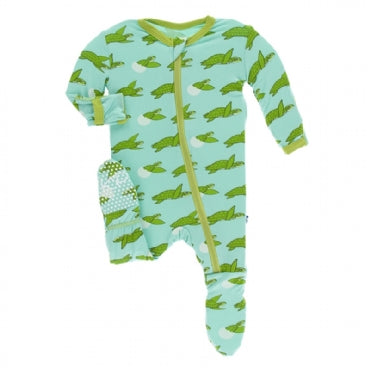 Glass Sea Turtles Footie with Zipper