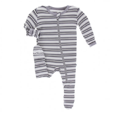 India Pure Stripe Footie with Zipper