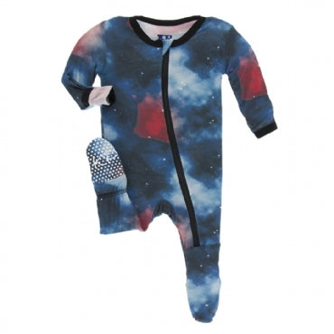 Print Footie with Zipper Red Ginger Galaxy