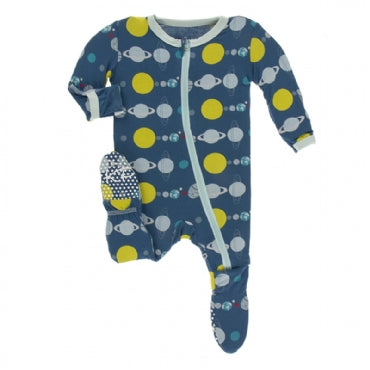 Print Footie with Zipper Twilight Planets