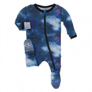 Print Footie with Zipper Wine Grapes Galaxy