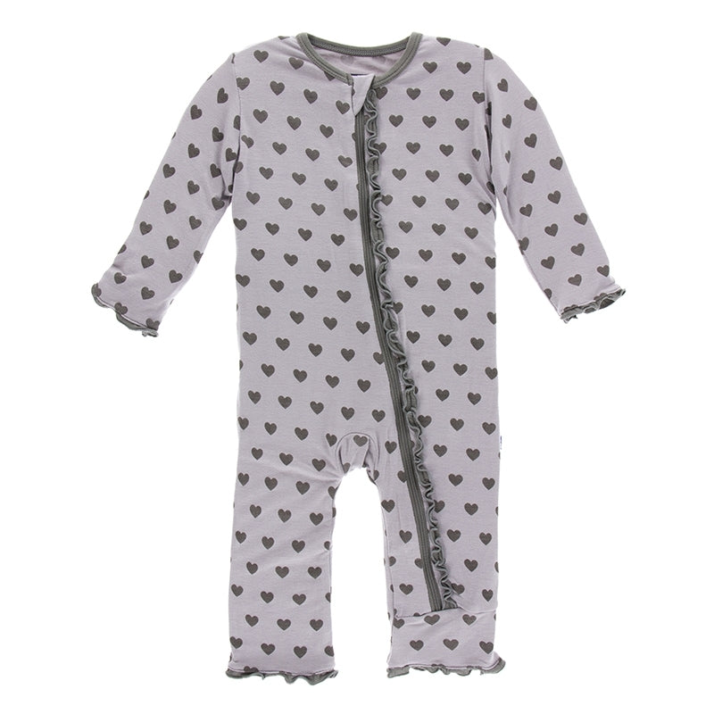 Feather Hearts Muffin Ruffle Coverall with Zipper