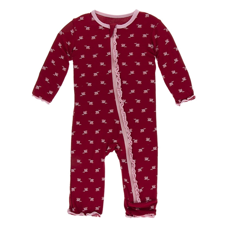 Candy Apple Rose Bud Muffin Ruffle Coverall with Zipper