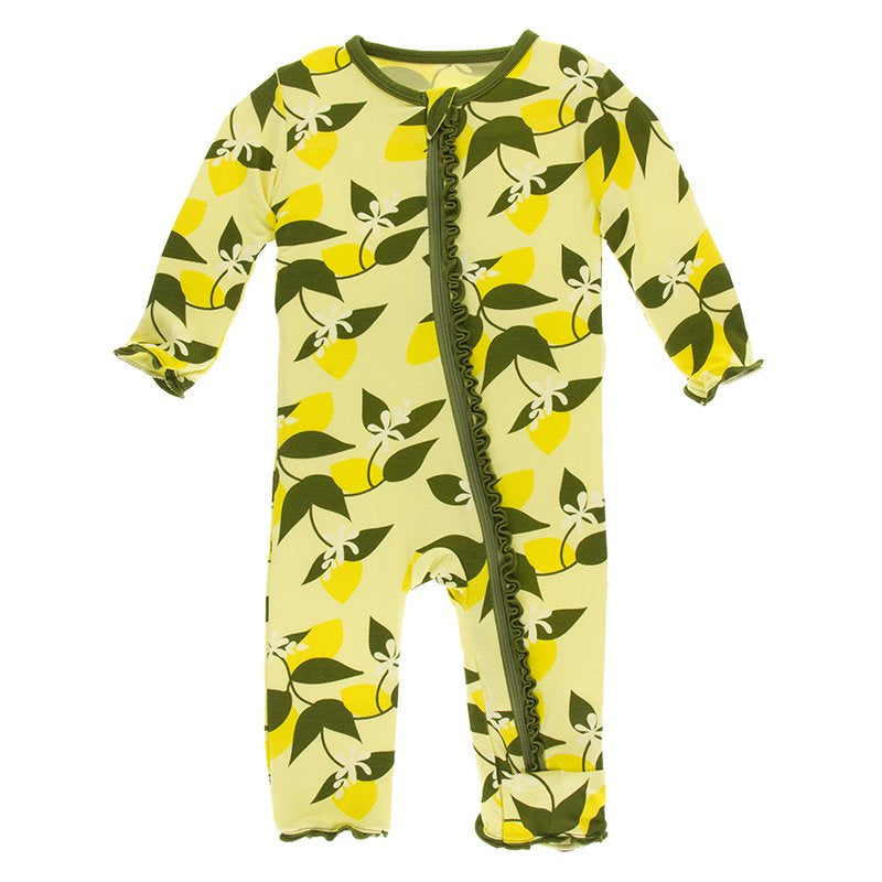 Lime Blossom Lemon Tree Muffin Ruffle Coverall with Zipper