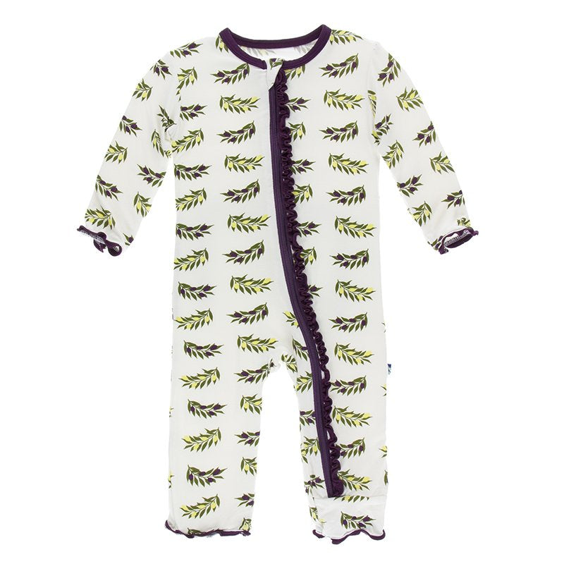Natural Olive Branch Muffin Ruffle Coverall with Zipper