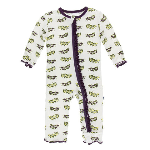 Natural Olive Branch Layette Classic Ruffle Coverall with Zipper