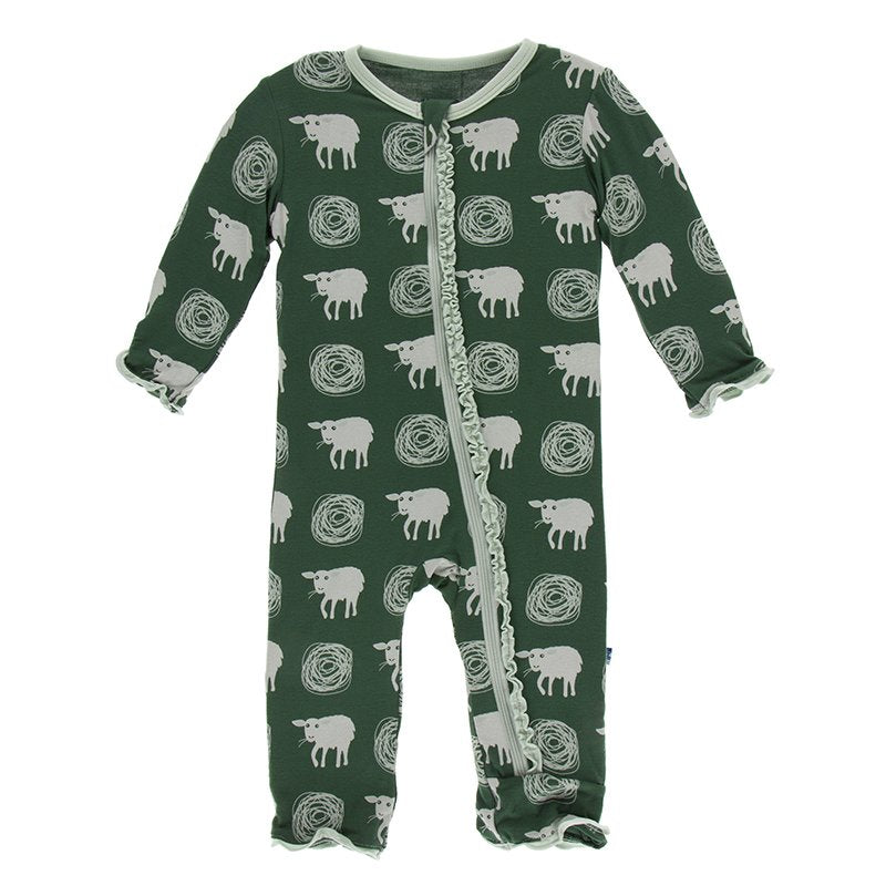 Topiary Tuscan Sheep Layette Classic Ruffle Coverall with Zipper