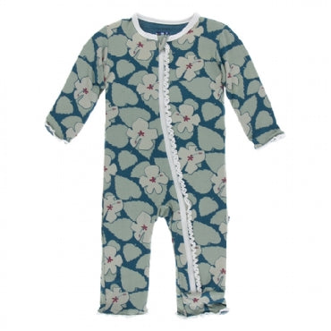Oasis Hibiscus Muffin Ruffle Coverall with Zipper