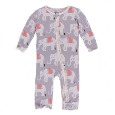 Feather Indian Elephant Muffin Ruffle Coverall with Zipper
