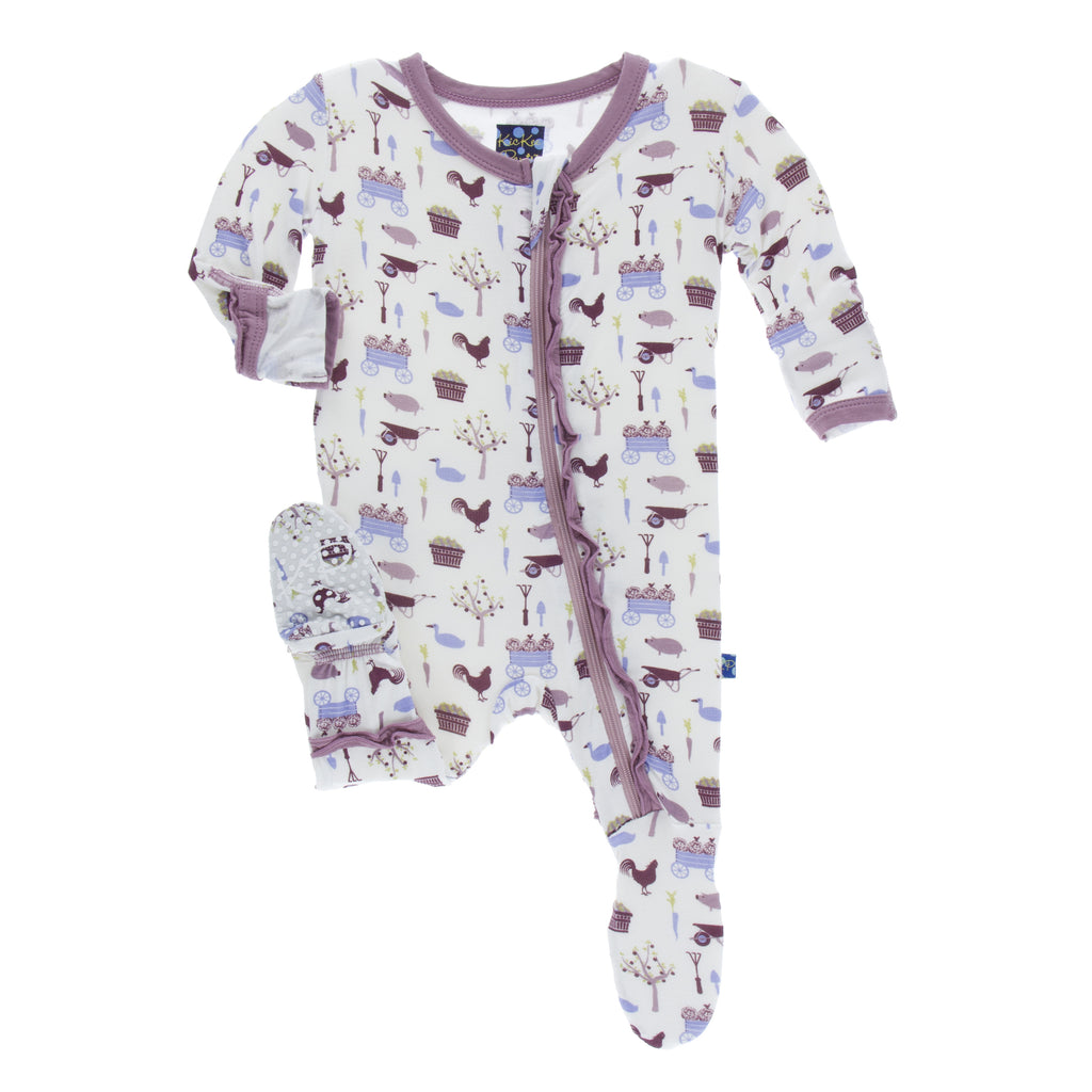 Girl Natural Farm Muffin Ruffle Footie with Zipper
