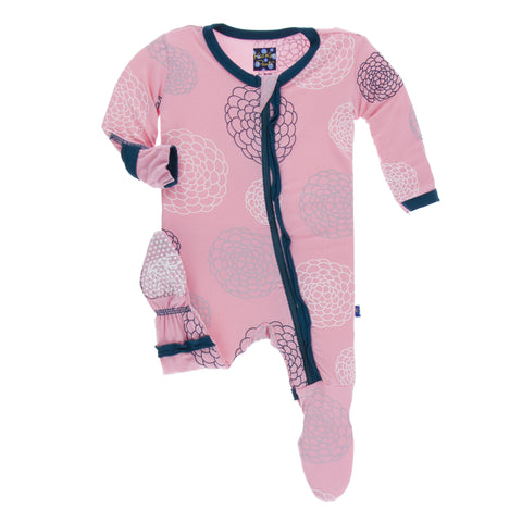 Lotus Blooms Muffin Ruffle Footie with Zipper