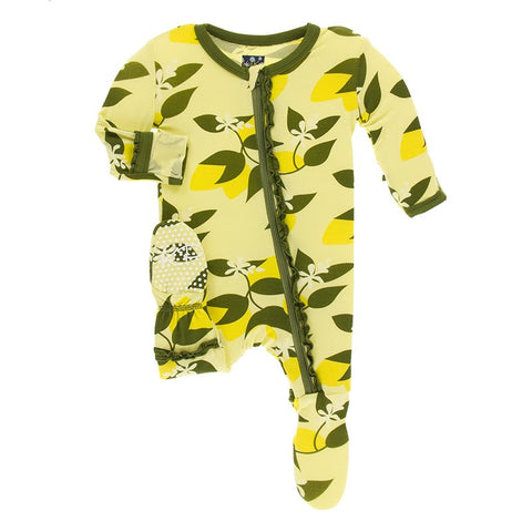 Lime Blossom Lemon Tree  Layette Classic Ruffle Footie