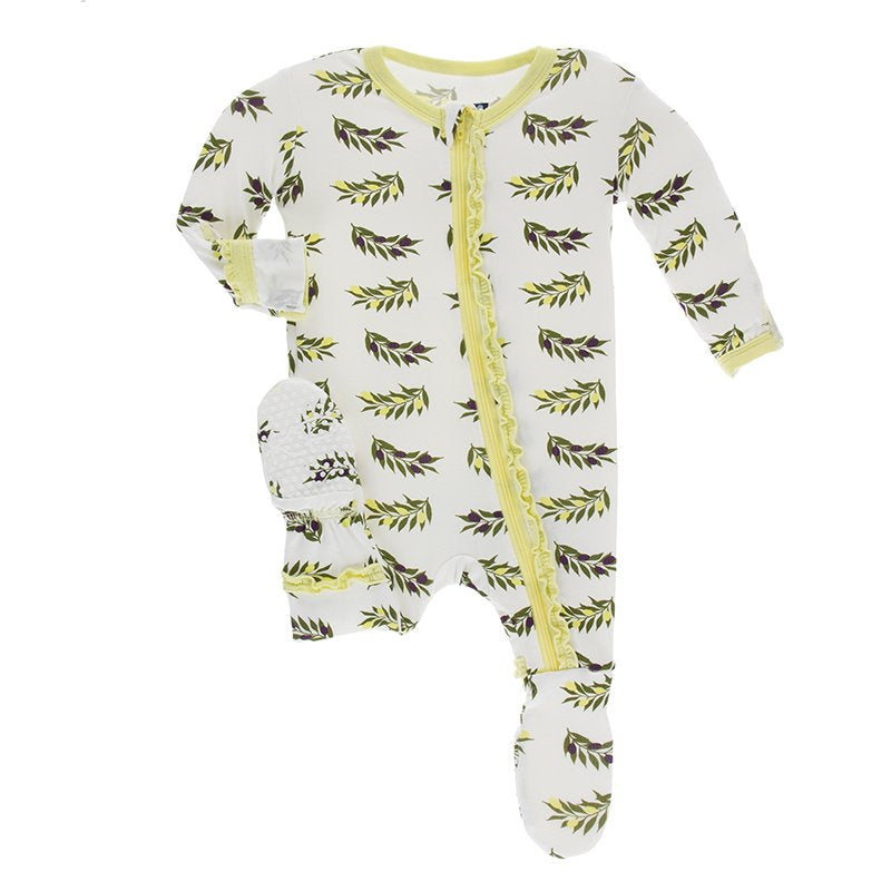 Natural Olive Branch Layette Classic Ruffle Footie