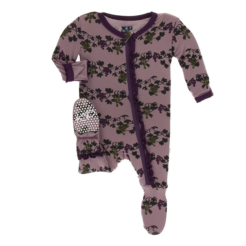 Raisin Grape Vines Muffin Ruffle Footie with Zipper