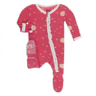 Print Muffin Ruffle Footie with Zipper Red Ginger Full Moon