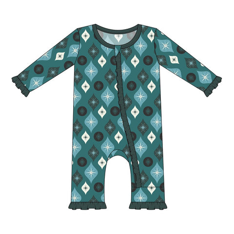 b3b3d90d95b0 Cedar Vintage Ornaments Layette Classic RUFFLE Coverall with Zipper