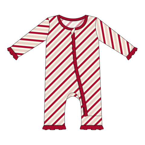 Rose Gold Candy Cane Stripe Layette Classic Ruffle Coverall with Zipper