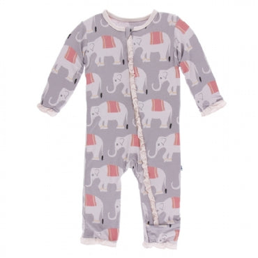 Feather Indian Elephant Classic Ruffle Coverall with Zipper