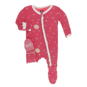 Print CLASSIC Ruffle Footie with Zipper Red Ginger Full Moon