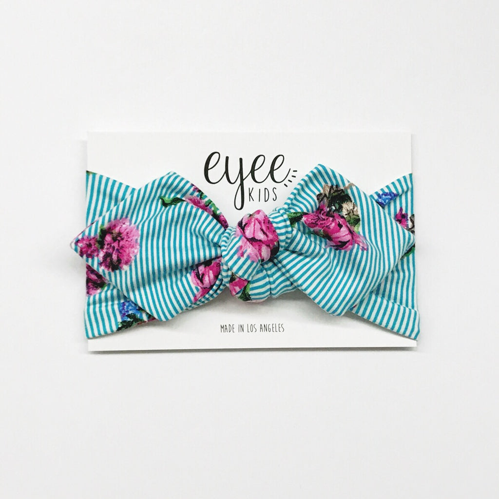 Top Knot Headband - Turquoise Stripe Floral