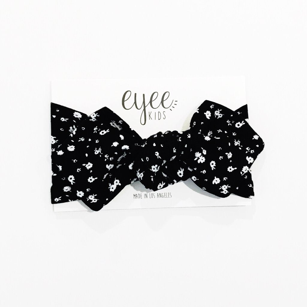 Top Knot Headband - Black & White Floral