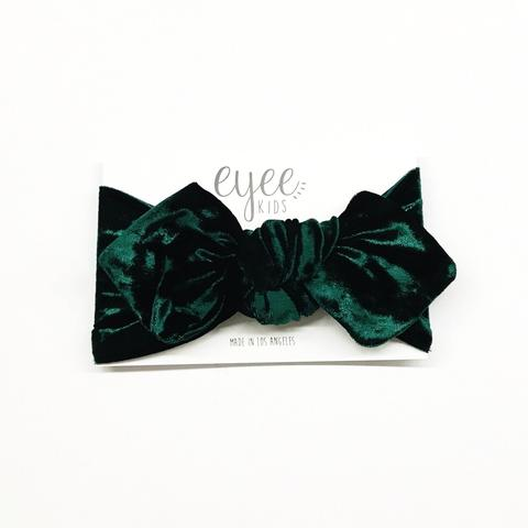 Top Knot Headband - Crushed Emerald Green Velvet