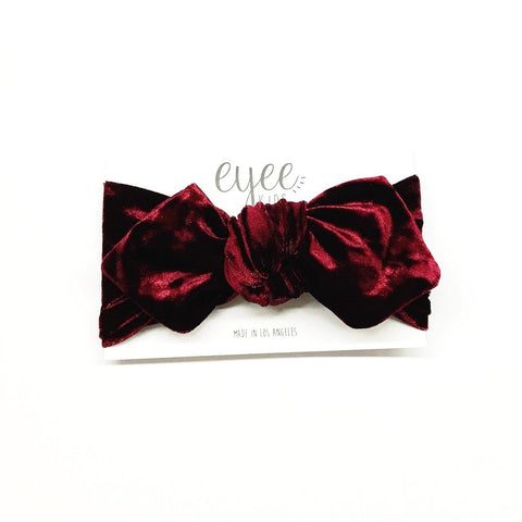 Top Knot Headband - Crushed Cranberry Red Velvet