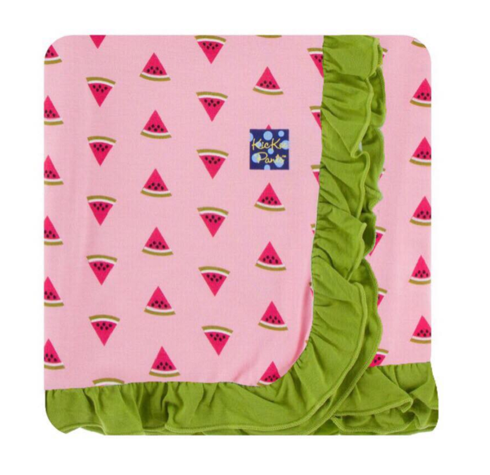 Custom Print Ruffle Toddler Blanket Lotus Watermelon with Meadow Trim