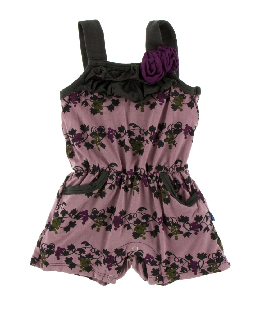 Raisin Grape Vines Romper with Pockets