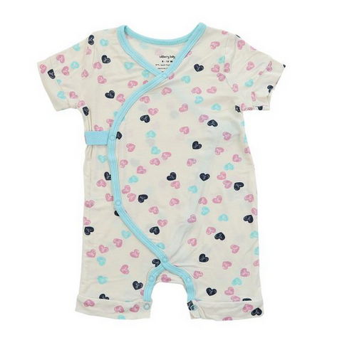 Silkberry Heart Stamp Feather Bamboo Romper